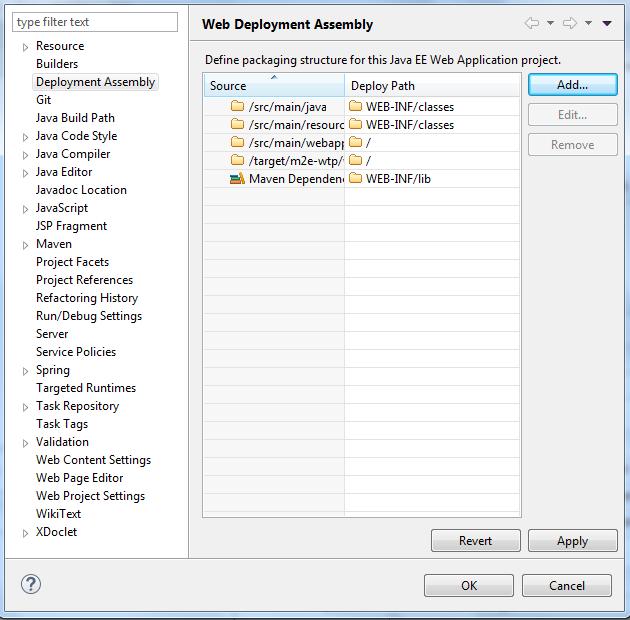 Przykłądowa konfiguracja Deployment Assembly dla projektu webowego w Mavenie
