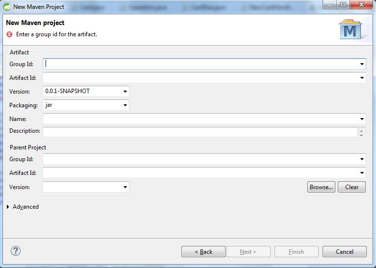 Drugi ekran - konfiguracja specyficzna dla Maven'a