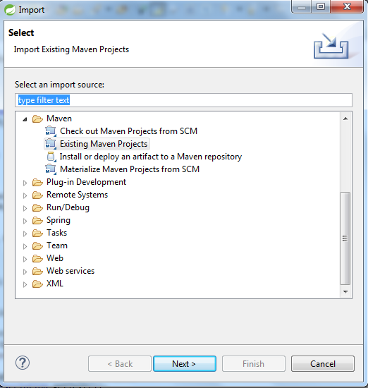 Okno File->Import z rozwiniętą zakładką 'Maven'