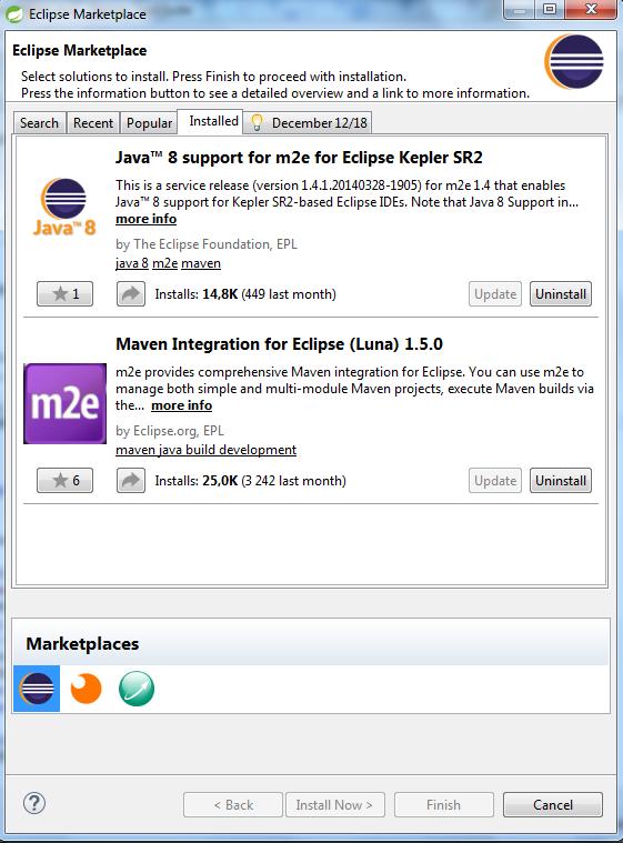 Zainstalowane moduły m2e - można je samodzielnie zainstalować wyszukując je w zakładce 'Search' pod hasłem m2e