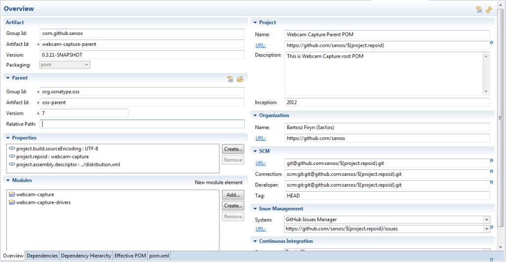 Widok zakładki Overview w edytorze pliku pom.xml