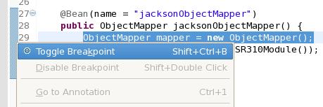 Klikamy prawym przyciskiem myszy na szare pole obok edytora kodu i z menu wybieramy 'Toggle breakpoint'