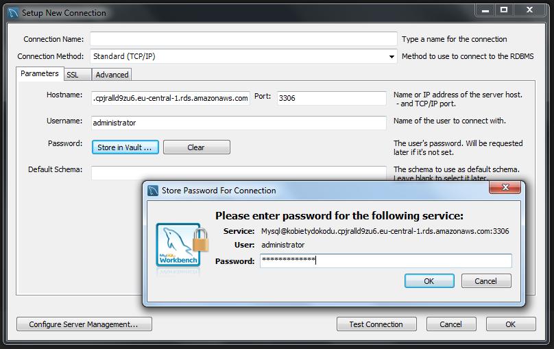 Przykładowe dodawanie połaczenia w MySQL workbench