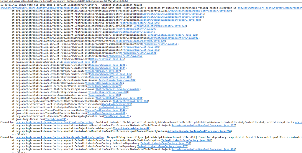Wyjątek wyrzucony przez aplikacjęwebową SpringMVC