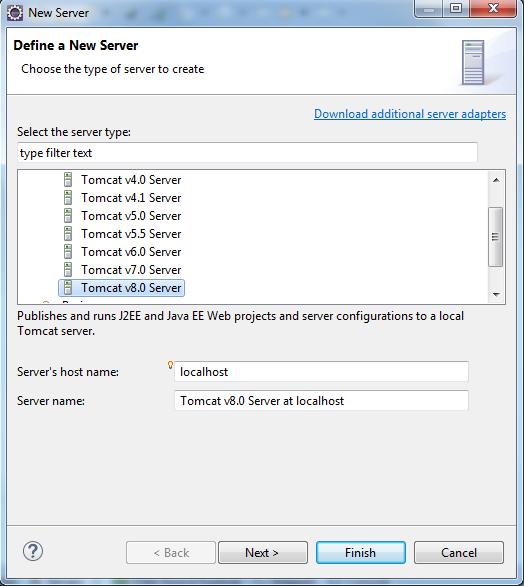 Wybór rodzaju serwera aplikacji, który chcemy dodać