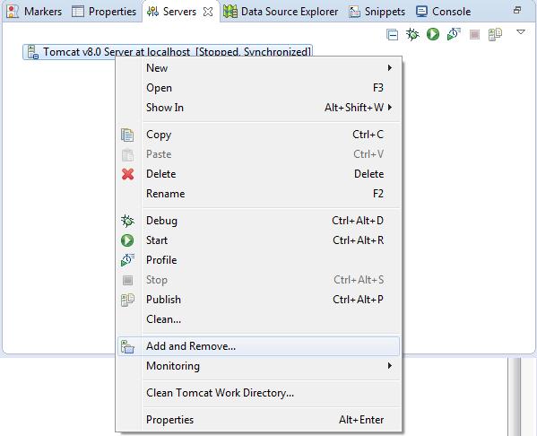Menu kontekstowe serwera aplikacji