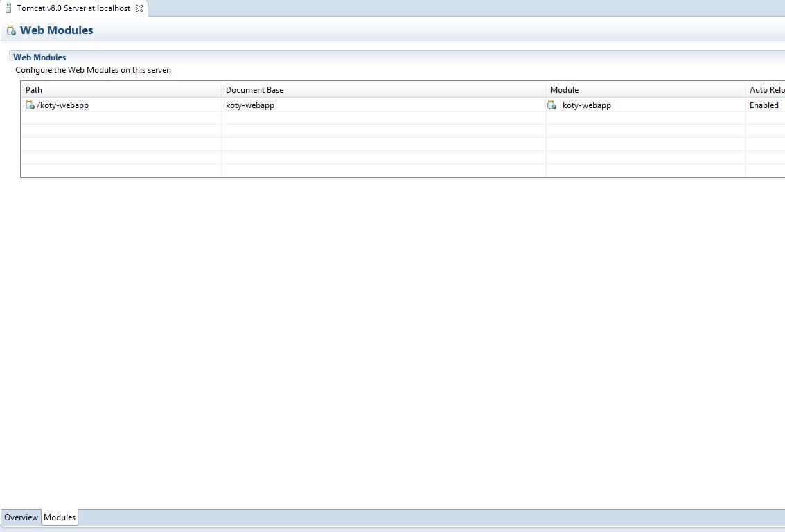 Lista aplikacji uruchamianych na serwerze.